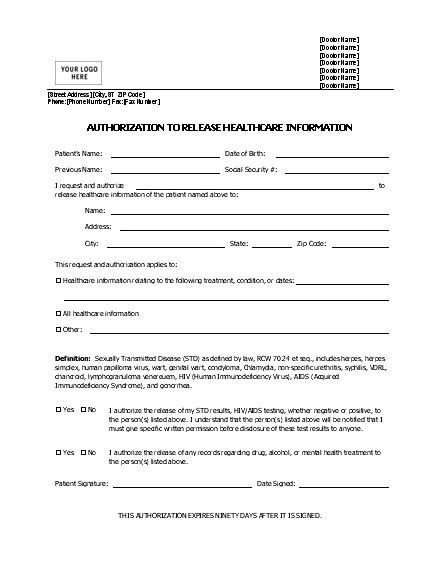 authorization to release information authorization to release healthcare information form printable forms letters sheets