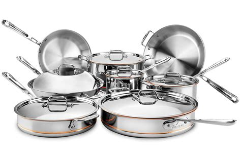 clad copper core cookware set  piece stainless steel cutlery