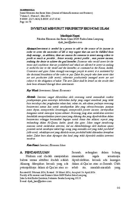 (PDF) INVESTASI MENURUT PERSPEKTIF EKONOMI ISLAM