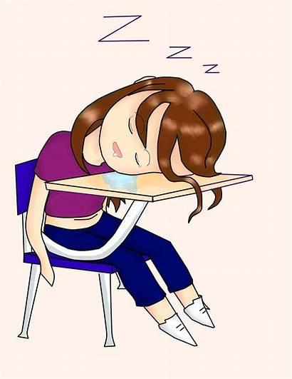 Sleeping Clipart Desk Woman Student Sleepy Clip