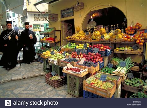 hyg駭a cuisine elk141 2353 greece corfu town vegetable market with