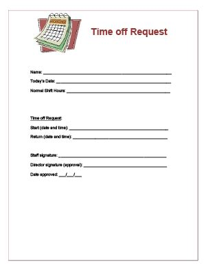 22297 request for time form time request form for child care staff books worth