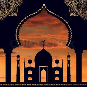 Islam,arabic,muslim background in arch Vector Sunset sky