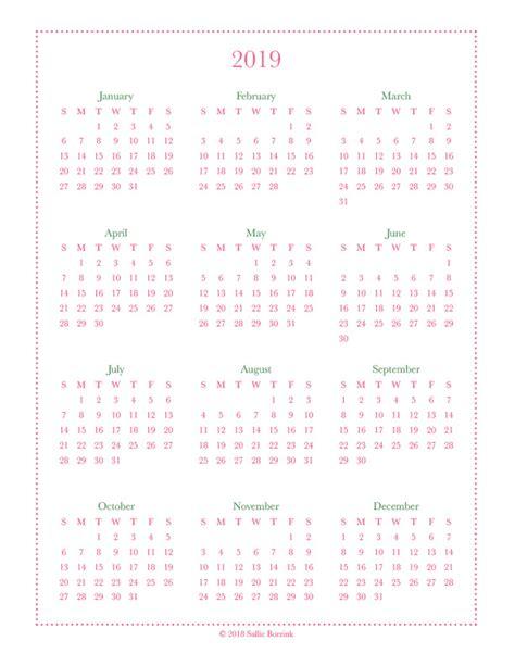 year   glance calendar printables