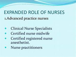 Extended and expanded role of nurses