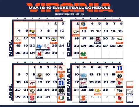 virginia basketball printable schedule streaking lawn