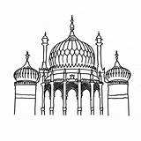 Brighton Pavilion Colouring Landmarks Sheets Buildings Printable Sheet Coloring Print Adults sketch template