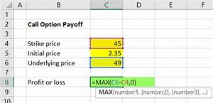 Calculating Call And Put Option Payoff In Excel