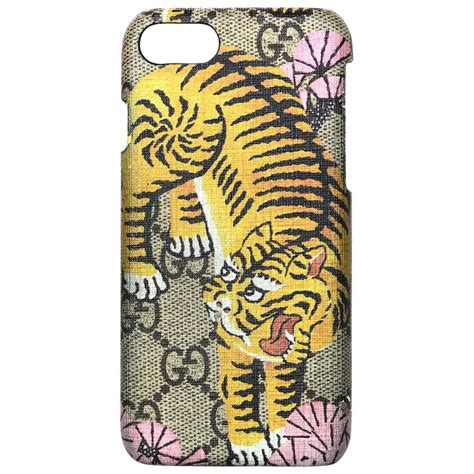 gucci brown tiger logo gg monogram canvas iphone  case  box  care booklet  stdibs