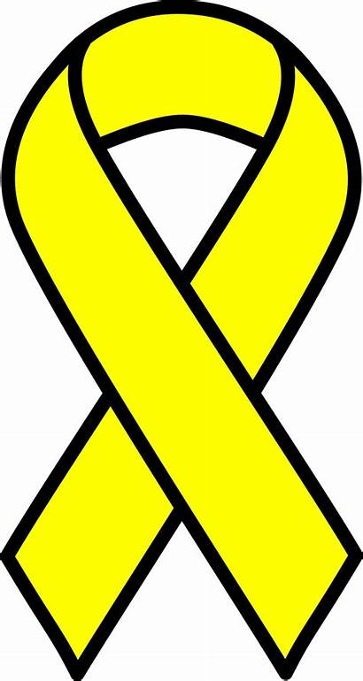Ribbon Yellow Cancer Clipart Svg Sign