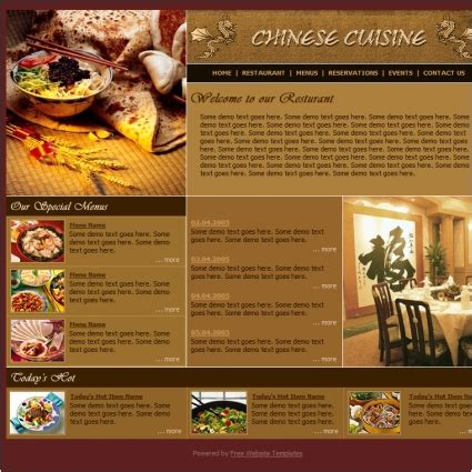 cuisine site cuisine template free website templates in css