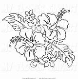 Hawaiian Lei Clipart Hibiscus Clip Flower Coloring Pages Pencil Leis sketch template