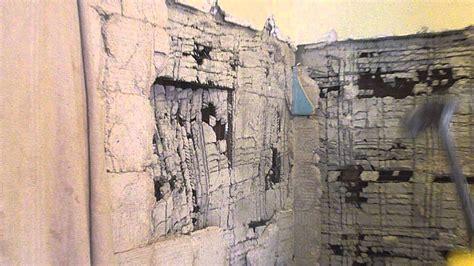 bathroom demolition demo gut metal lathe plaster cement