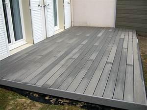 terrasse bois composite fiberon directement sur pelouse With pose lame de terrasse