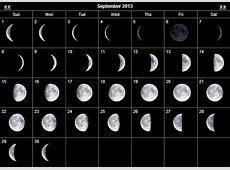 September 2013 Moon calendar Daily Pin Board