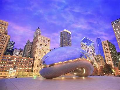 Chicago Illinois Sculpture Gate Evening Reflections Wallpapers