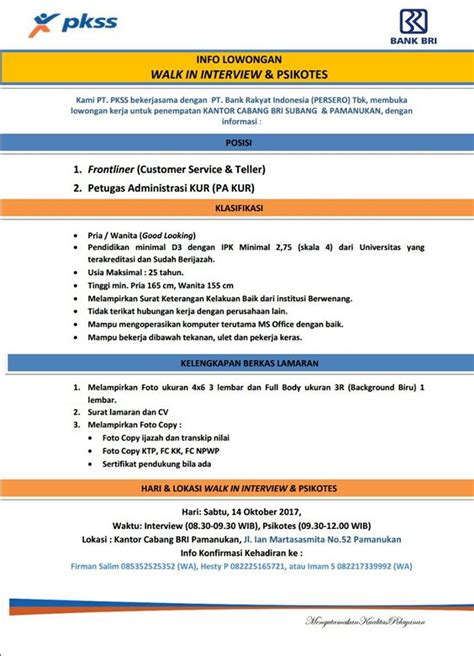 lowongan kerja pt bank rakyat indonesia bank bri