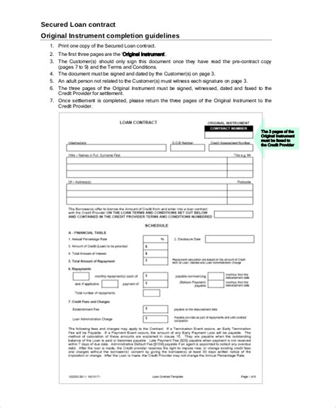 loan contract samples  word