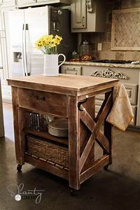 Ana White Rustic X Small Rolling Kitchen Island - DIY