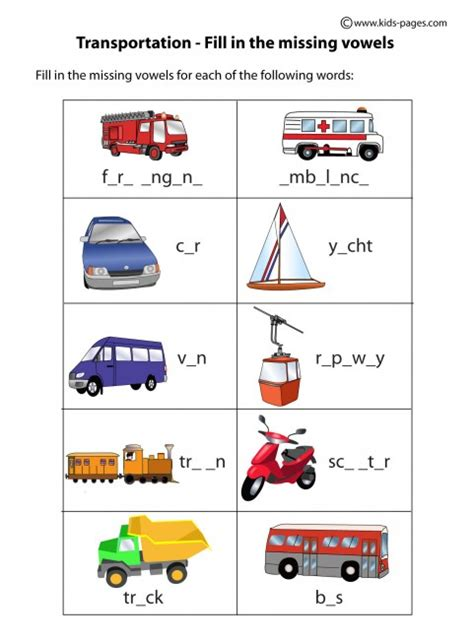 Number Names Worksheets » Transportation Worksheets  Free Printable Worksheets For Pre School
