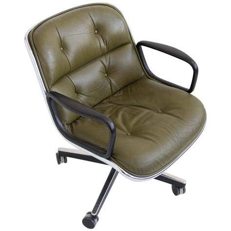 green leather office chair by charles pollock for knoll at