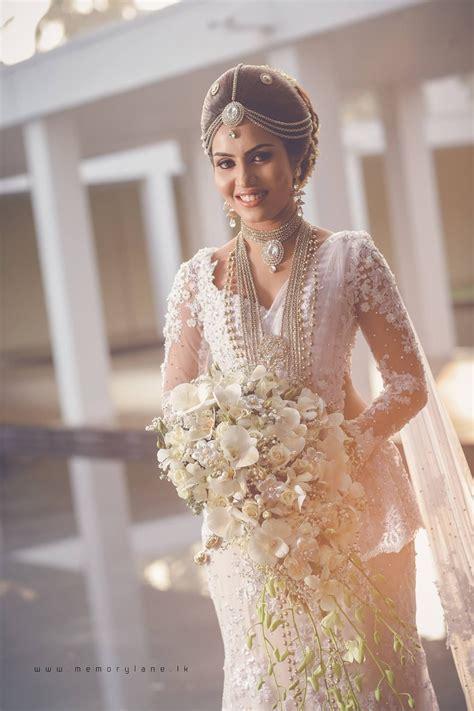 sri lankan bride christian bridal saree white saree