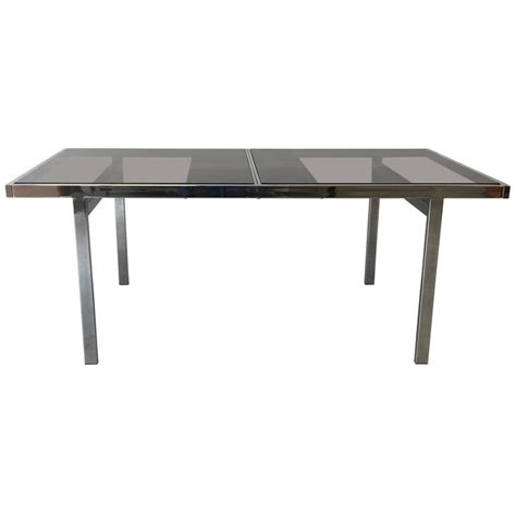 1970s milo baughman chrome extendable dining table with