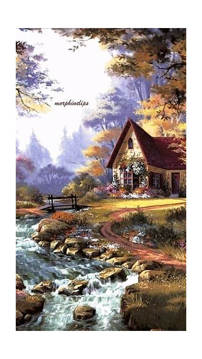Paintings Landscape Painting Water Kinkade Watercolor Animation