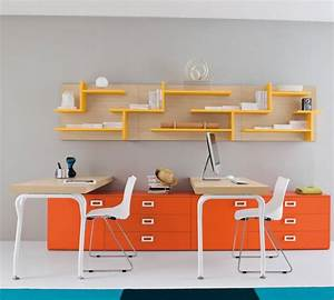 twin, study, desk, with, bright, orange, yellow, color, ideas