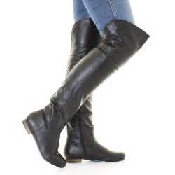 s flat boots sale uk womens black leather style flat knee thigh high pirate cuff boots size 3 8 ebay