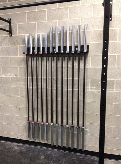 bar vertical barbell storage rack wall mounted olympic bar holder ironcompany