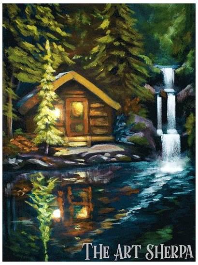 Acrylic Cabin Sherpa Lake Waterfall Paint Painting