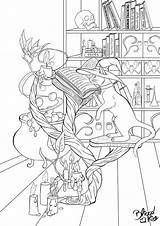 Halloween Coloring Cat Magic Lineart sketch template