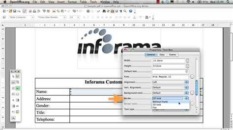 creating   document  form fields  openoffice