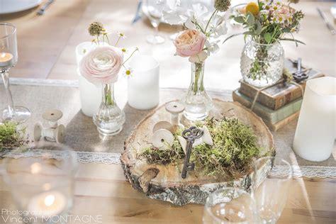 rondin de bois centre de table ideal pour  mariage