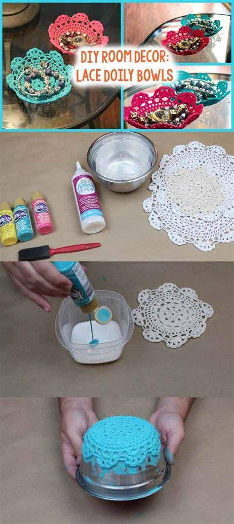 mesmerizing homemade diy lace crafts  beautify  home