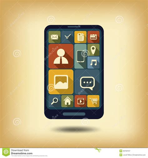 the state of the modern smartphone user interface tested smartphone flat design icons royalty free stock