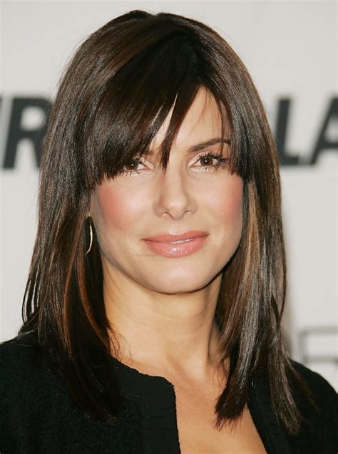 sandra bullock medium straight cut  bangs sandra