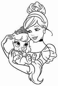Раскраска  Принцессы Диснея  Золушка и щенок Тыковка MirChild