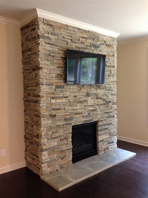 interior stacked stacked stone fireplaces home design
