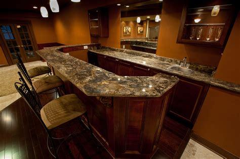 golden thunder granite in basement bar entertainment