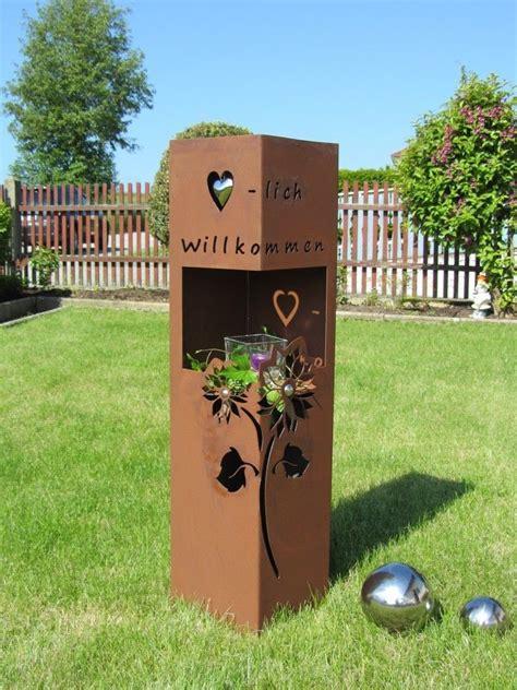 Metall Deko Wand Garten by 4eck S 228 Ule Rost Willkommen Edelrost Metall Gartendeko