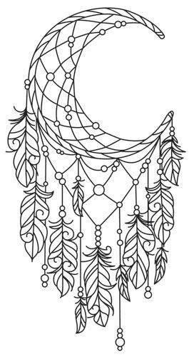 Moon Dreamcatcher Colouring Page | Coloring pages