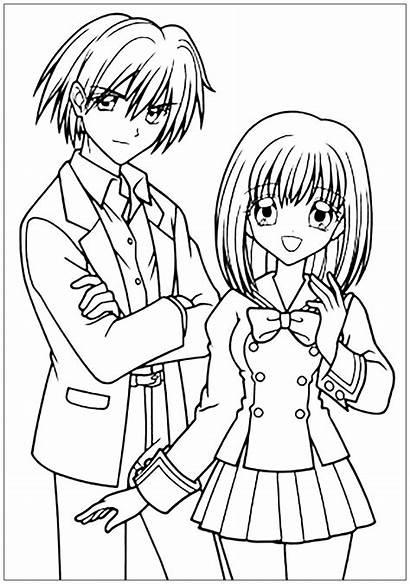 Coloring Boy Manga Drawing Suit Pages Mangas