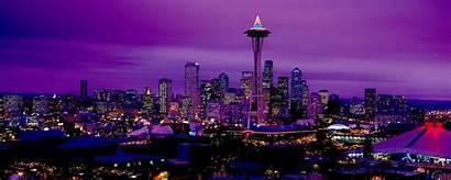 Monitor Dual Seattle Night Wallpapers Desktop Purple