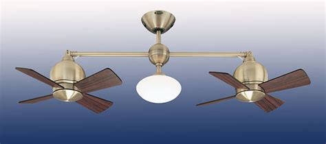 double head ceiling fan with light 22 quot impeller double head ceiling fan antique brass