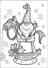 Coloring Gnome Adult Horse Rocking Tomte Sheets Noel Gnomes Colors Crafts Coloriage Drawing Theme Xmas Cards Winter Chrétien Paper Illustration sketch template