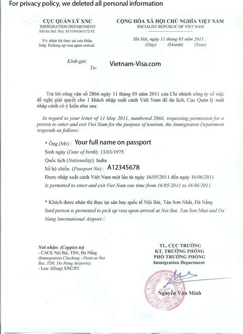 visa on arrival visa approval letter