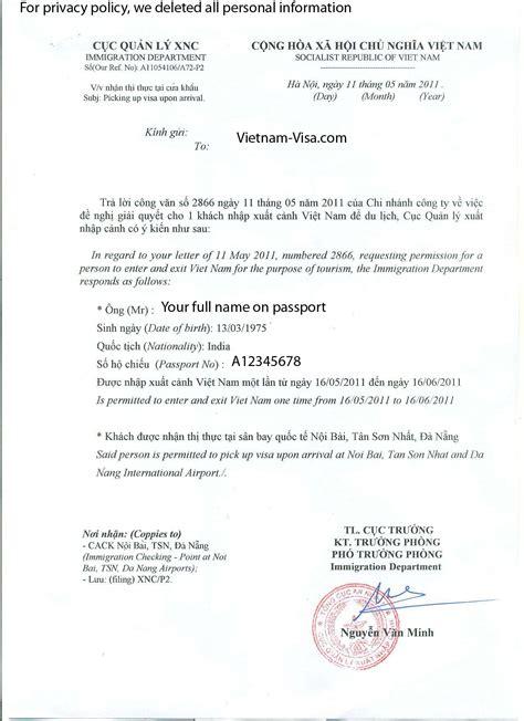 vietnam visa  arrival visa approval letter