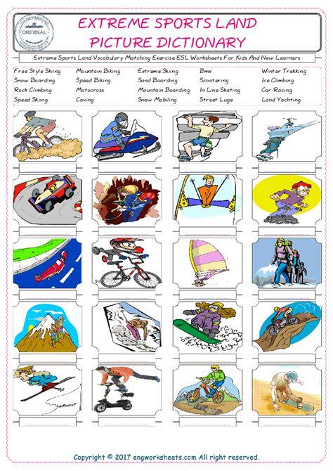 extreme sports land esl printable english vocabulary